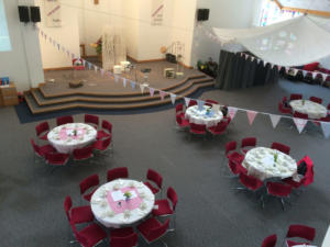 Church ready with bunting web